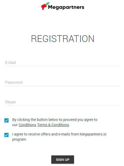 Регистрация в партнерской программе Megapartners